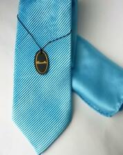aea46ff25201 PIATTELLI TURQUOISE PLEATED SILK TIE & POCKET SQUARE