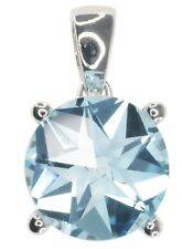 Sky Blue Topaz Gemstone With Star Cut Sterling Silver Pendant + Chain