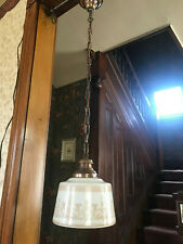 Art Deco, Stenciled School House Hanging Light Fixture, Ready 2 Use, Free S/H