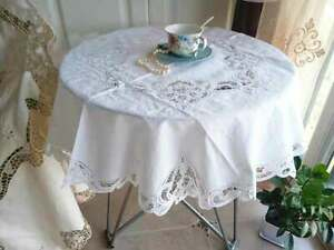Elegant Hand Batten Lace Flower Embroidery White Round Cotton Table Cloth