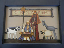 Original Folk Art Painting Nativity Baby Jesus Mary Joseph Signed by NH Artist