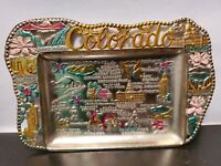 Vintage Painted Metal Tin Colorado Souvenir Ashtray Trinket Dish Japan