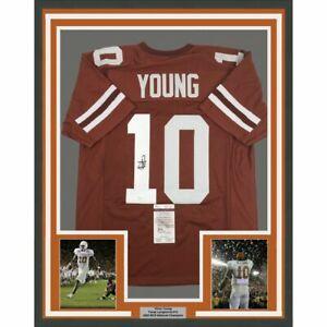 FRAMED Autographed/Signed VINCE YOUNG 33x42 Texas Orange College Jersey JSA COA