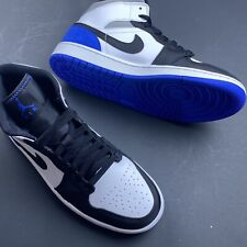 "Nike Air Jordan 1 Mid SE ""Union"" Royal blue white black Toes 852542-102 US 9"