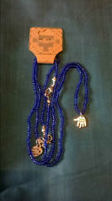 S002 - Hand Made Blue Bead Necklace and Bracelet Set With Tibetan Silver Charms