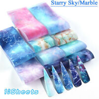 10Sheet Nail Foils Transfer Stickers Holographic Flower Nail Art Starry Paper SO