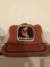 Vintage Swingster Ditch Witch Construction Machinery Orange Mesh Trucker Hat