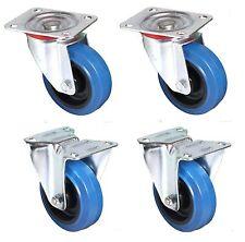 100mm. QUALITY Flight Case Castors. Blue Wheel. SET OF 4: 2 Swivel + 2 Fixed*