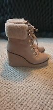 River Island Grey Lace-up Wedge Heel Fur Boots UK 8