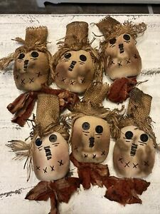 Primitive Scarecrow ornies Ornaments bowl fillers lot of 6 FAll Halloween
