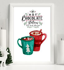 CHRISTMAS Print Hot Chocolate Station Winter XMAS PICTURE Red A4 WALL ART
