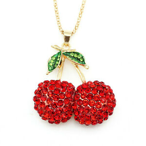 Betsey Johnson Red Crystal Cherry Fruit Pendant Sweater Chain Necklace Gift