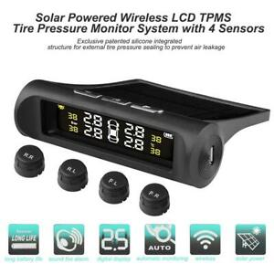 Auto Car Solar TPMS Tire Tyre Pressure LCD Monitoring System Wireless + 4 Sensor