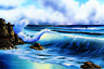 Bob Ross Surfs Up Ocean Wave Canvas Art Print Painting Poster 24x36
