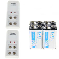 4pcs 9v Rechargeable Battery NI-MH 900mAh Battery with 2pcs Smarts Charger