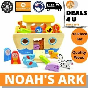 Noah's Ark Wooden Play Set + Shape Sorter 18 Pieces Quality Wood 2 In 1 Toy Gift