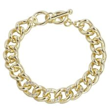 Plain Shinny Gold Curb Cuban Link Chain Bracelet