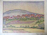 Karl Steffin 1926 Blick auf ein Dorf in den Bergen 27,5 x 37 cm