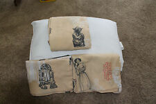 Vintage 1997 Star Wars Tan/Beige Bed Sheets-2 Flat & One Fitted Sheet-Twin Size