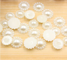 50 Ivory Flat Back Pearl Flower Beads Scrapbook for Wedding Cards Embellishments