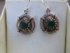 orecchini  argento 925 smeraldi e zaffiri bianchi brillante