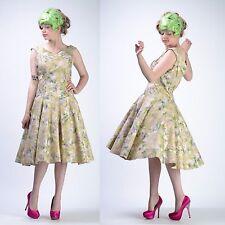 VTG 50s 20s FLORAL FULL CIRCLE SKIRT Deco Flapper Wedding Gatsby PARTY DRESS