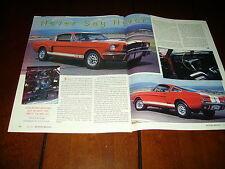 1966 CARROLL SHELBY GT-350 ***ORIGINAL 1996 ARTICLE*** GT350