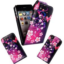 CASE FOR APPLE IPHONE 4G 4S PURPLE PINK FLOWER AND BUTTERFLY DESIGN FLIP COVER