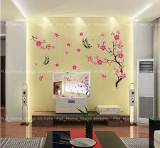 Pink Plum Blossom Tree Wall Stickers Vinyl Art Decals Transparent & Reusable