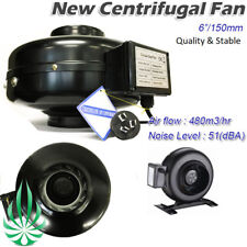 "6"" Inline Centrifugal Exhaust Duct Fan Ventilation Hydroponics Metal Quality Fan"