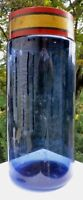 """Handsome Antique Handblown Blue Apothecary Bottle, 9½"""" Tall, with Gold Gilt Lid"""