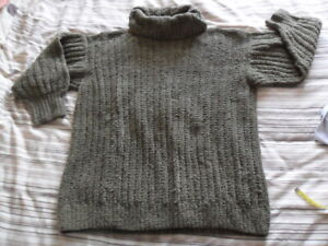 """Marion Foale Hand Knitted 100% Cotton - Olive Green Polo Neck Gents/Ladies 46"""""""