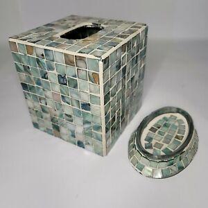 Tissue Box Holder Cover & Soap Holder Blue GrayCeramic Mosaic Square Tiles