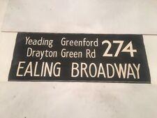 """London Linen Bus Blind Nov73 36""""- 274 Ealing Broadway Yeading Greenford Drayton"""