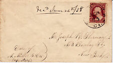 #26A-3 Cents 1857, 3L10i, damaged transfer, to J. Sherman, Waterbury, CT - 1858