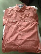 Duffer of St. George Red-White fine check short sleeve shirt Size Medium
