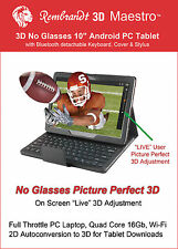 "3D  Tablet 10.1"" Android 4.4, 2D to 3D, 4-in-1 HUB, Keyboard, Autostereoscopic"