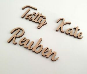 Personalised Script Names Letters Words MDF Book Art Wooden Wood Wedding Place