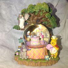 RARE Disney Winnie The Pooh BIRTHDAY PARTY Musical Blower Snowglobes-MIB