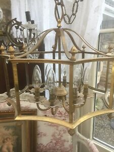 Antique Vintage French Chandelier Brass Light Lovely Condition Beautiful Shape
