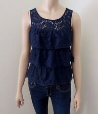 Abercrombie Womens Lace Tank Top Size XS Shirt Ruffles Tiered Blouse Navy Blue