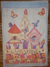 "Welcome ~ House Flag ~ Bird House ~ Butterflies ~ Daisies ~ 27.5"" x 39.5"""