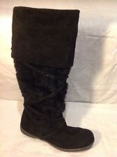e. Black Knee High Suede Boots Size 39
