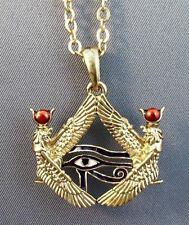 Isis Goddess Horus Eye Pewter Amulet Pendant w/ Chain Egyptian Jewelry #J280