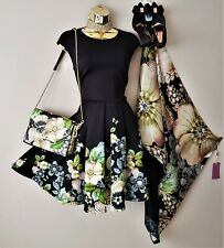 Ted Baker Queset Gem Gardens Fit & Flare Evening Dress 10 TB2) Scarf Bag Heels L