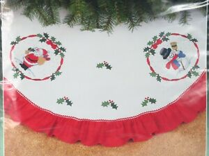 "Bucilla Christmas Tree Skirt Cross Stitch Kit Vintage Country Delight Ruffle 40"""