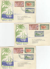 Stamps 1948 Tokelau Islands set of 3 on 3 souvenir covers different postmarks
