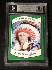 JULES STRONGBOW 1983 WRESTLING ALL STARS ROOKIE SIGNED AUTOGRAPHED CARD BECKETT