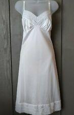Vtg White Nylon Chiffon Lace Triple Tier Hem Full Slip Size 38 Large