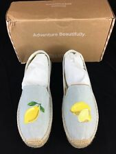 Soludos Canvas Platform Smoking Slipper Embroidered Lemon Chambray Women's Sz 8